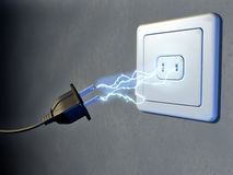 Electrical plug. And outlet generating electricity sparks. Digital illustration stock illustration