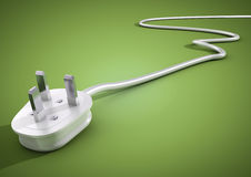 Electrical plug and cable lies unplugged isolates on green backg. Round. Concept for saving electricity by unplugging unused appliances and devices royalty free illustration