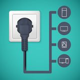 Electrical plug closeup. Flat icons with silhouettes of electric appliances Royalty Free Stock Images