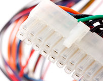 Electrical plug with colorful cables royalty free stock photos