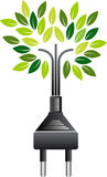 Electrical plug green tree Stock Photography