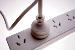 Electrical plug in power-board Royalty Free Stock Image