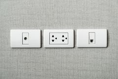 electrical plug socket on wall royalty free stock photo