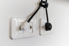 Electrical plug and TV signal outlets Stock Photography