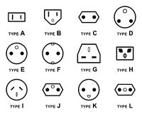 Electrical Plug Types Royalty Free Stock Photos