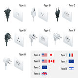 Electrical Plug Types. Type A, Type B, Type C, Type D, Type E, Type F, Type H. Isometric Switches and sockets set. AC Stock Image