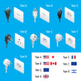 Electrical Plug Types. Type A, Type B, Type C, Type D, Type E, Type F, Type H. Isometric Switches and sockets set. AC Stock Images