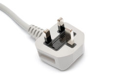 Electrical plug on white. Power Plug - close up on power cord Stock Images