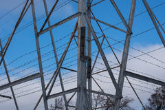 Electrical pole. Big metal electrical pole on a street Royalty Free Stock Photo
