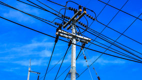 Electrical pole and cable Stock Image