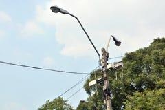 Electrical pole on sky Stock Image