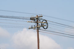 Electrical pole. With sky background Stock Photo