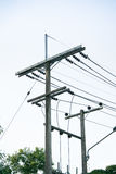 Electrical pole. With sky background Stock Photos