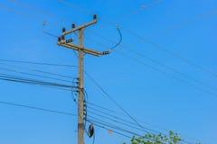 Electrical pole with sky. Electrical pole with blue sky background Royalty Free Stock Photos