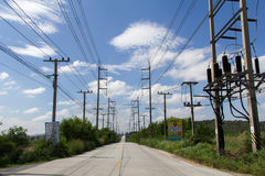 Electrical poles. Electric transformer on electric pole Stock Image