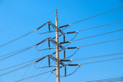 Electrical poles of high voltage Stock Images