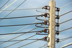 Electrical poles of high voltage royalty free stock photo