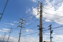 Electrical poles. High voltage pole. electricity post Stock Image