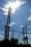 Electrical poles. Silhouette of high voltage electrical pole structure Royalty Free Stock Photos