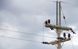 electrical Polonais et lignes électriques photo stock