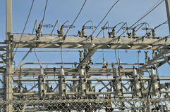 Electrical poower distribution center close up Royalty Free Stock Photography