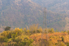 Electrical post on mountain Royalty Free Stock Images