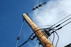 Electrical post outdoors. With blue sky at the background stock photos
