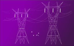 Electrical posts in colored background. Silhouette of two electrical posts distributors in colored background Royalty Free Stock Image