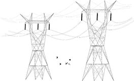 Electrical Posts Distributors. Two silhouettes of electrical posts distributors stands tall as a flock of birds fly between them Royalty Free Stock Photography