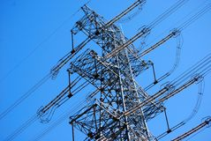 Electrical power. On background of the blue sky Royalty Free Stock Image