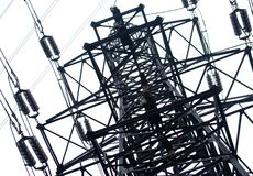 Electrical power. Close up, on background of sky Royalty Free Stock Images