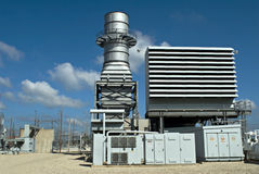Electrical Power. Substation with blue sky Stock Photos