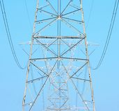 Electrical Power cables and towers. On the side of a mountain in central Pennsylvania. These towers deliver electric to the East coast stock image