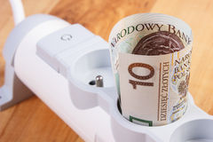 Electrical power extension and polish currency money, energy costs Royalty Free Stock Photography