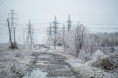 Electrical Power Field With Freezing Rain Stock Photos