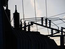 Electrical power grid in silhouette Stock Images