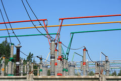 Electrical power high voltage substation Stock Images