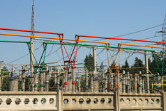 Electrical power high voltage substation. Encircled with barbed wire fence Stock Images