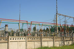 Electrical power high voltage substation Stock Photography