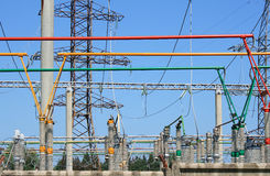 Electrical power high voltage substation Stock Photo