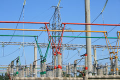 Electrical power high voltage substation Royalty Free Stock Photography