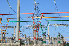 Electrical power high voltage substation Royalty Free Stock Photo
