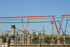 Electrical power high voltage substation Royalty Free Stock Photos