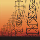 Electrical power lines stock illustration
