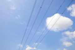 Electrical Power lines against clear Skype Royalty Free Stock Image