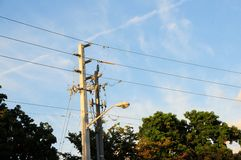 Electrical power-lines Royalty Free Stock Images