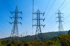 Electrical power lines over the hills in Victoria, Australia3 royalty free stock image