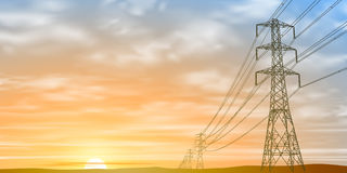 Electrical Power Lines. And Pylons with Sunrise, Sunset. Vector EPS 10 royalty free illustration