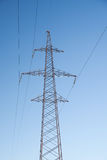 Electrical Power Lines under a blue sky. Outdoor Royalty Free Stock Images