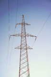 Electrical Power Lines under a blue sky. Outdoor Stock Photos